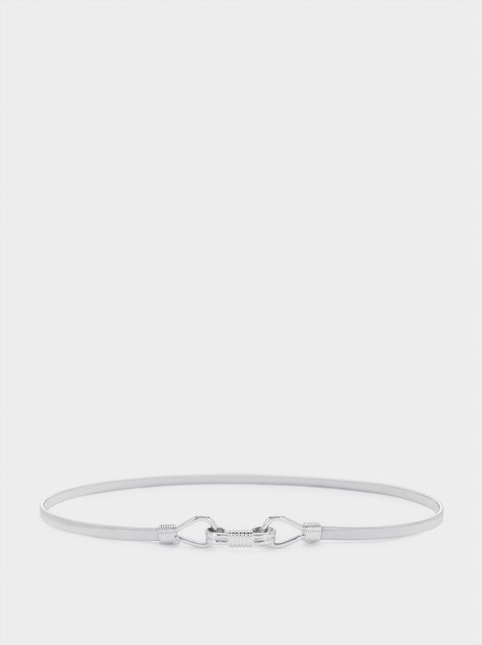 Elastyczny Metaliczny Pasek, Srebrny, hi-res