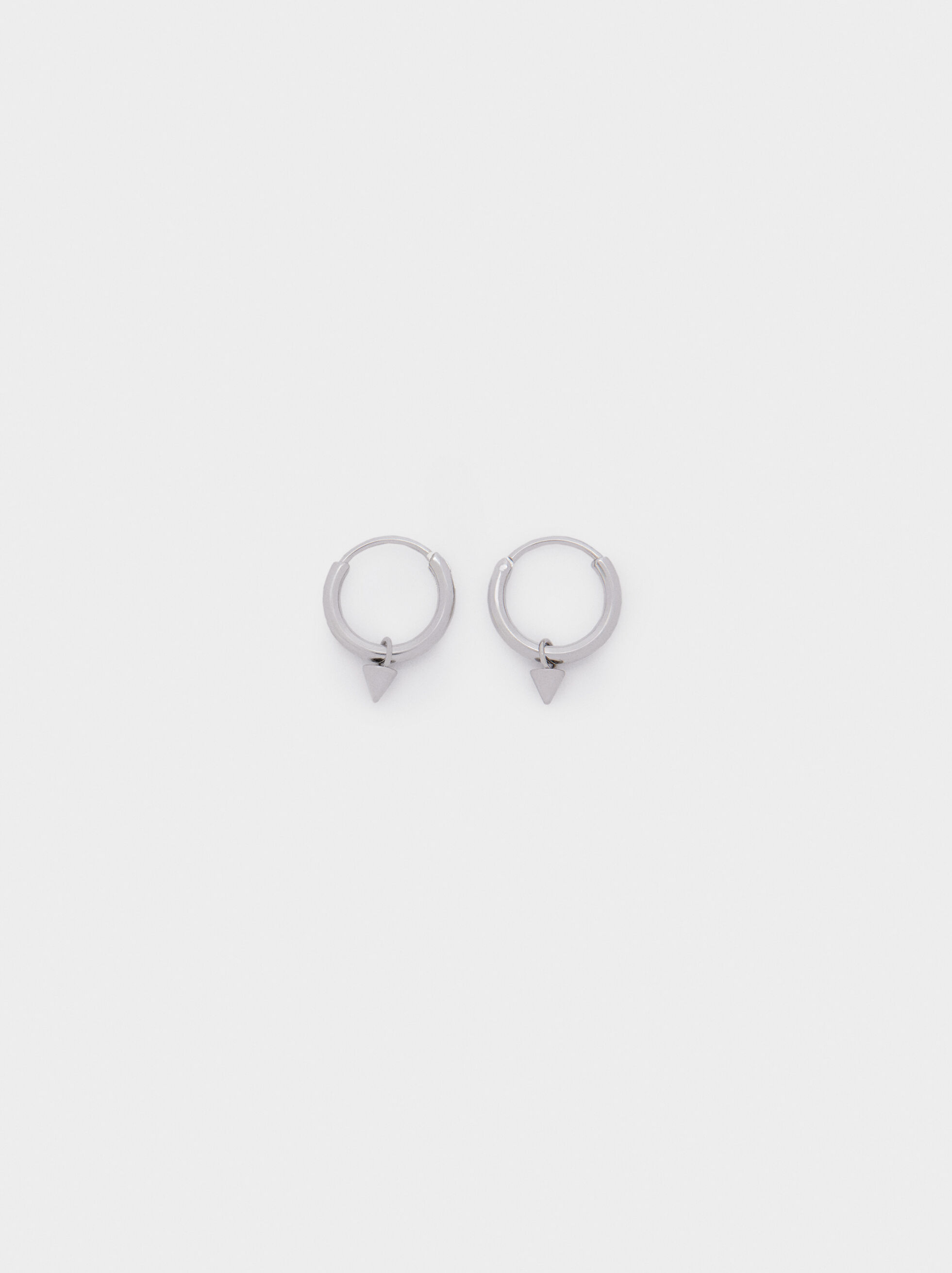 Silver Stainless Steel Short Earrings, Silver, hi-res