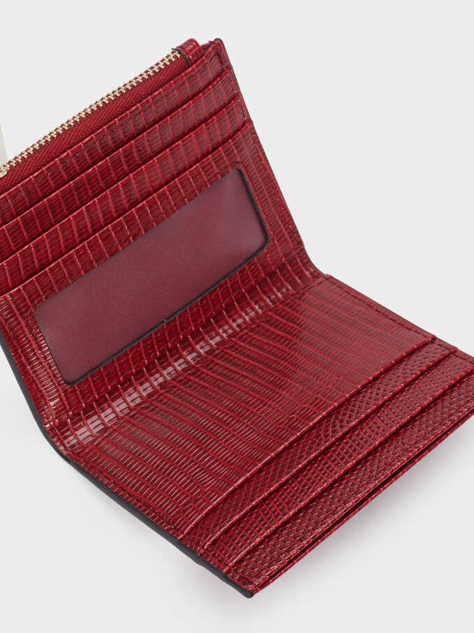Animal Print Card Holder, Red, hi-res