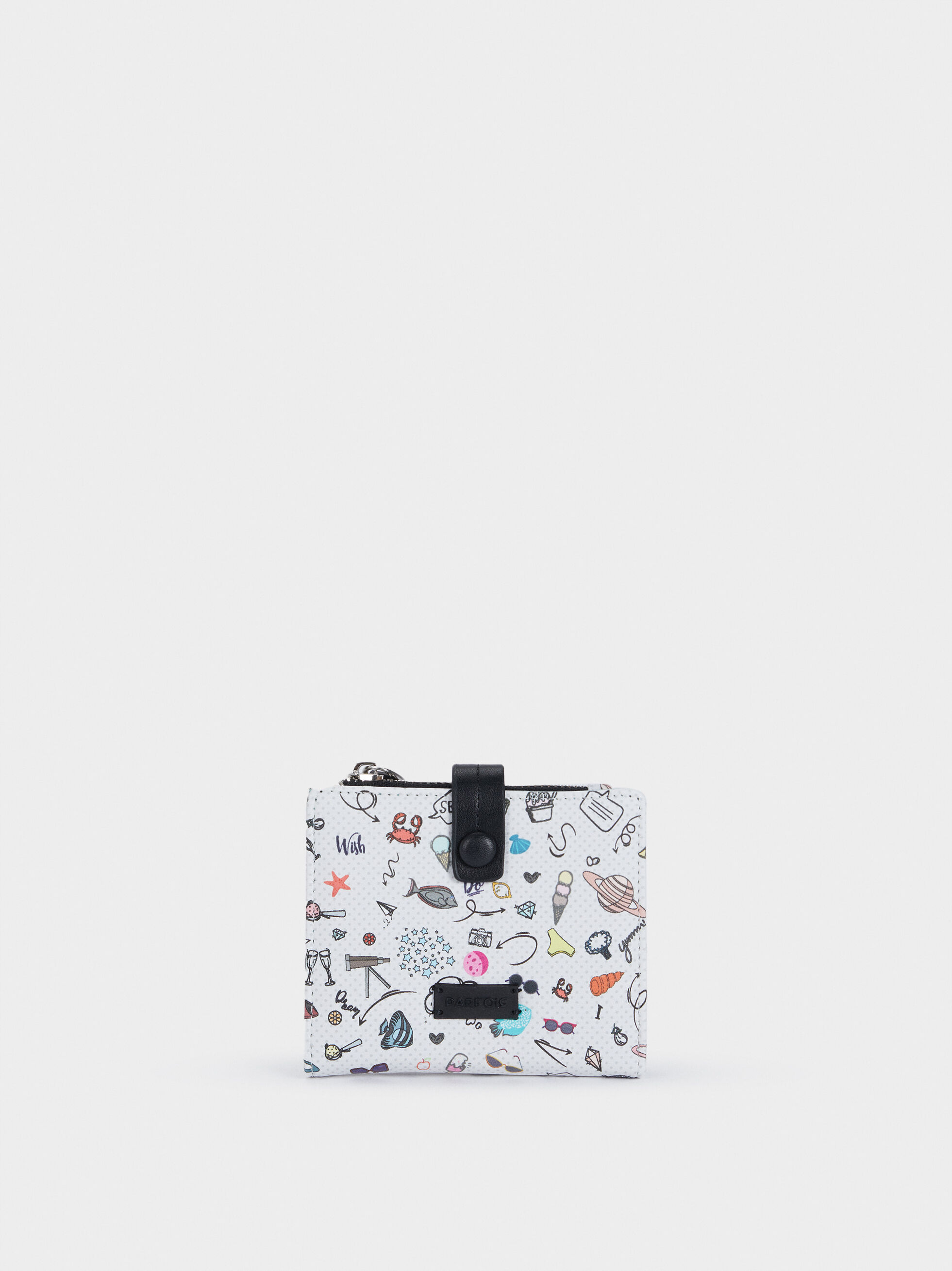 Multi-Coloured Printed Wallet, Black, hi-res