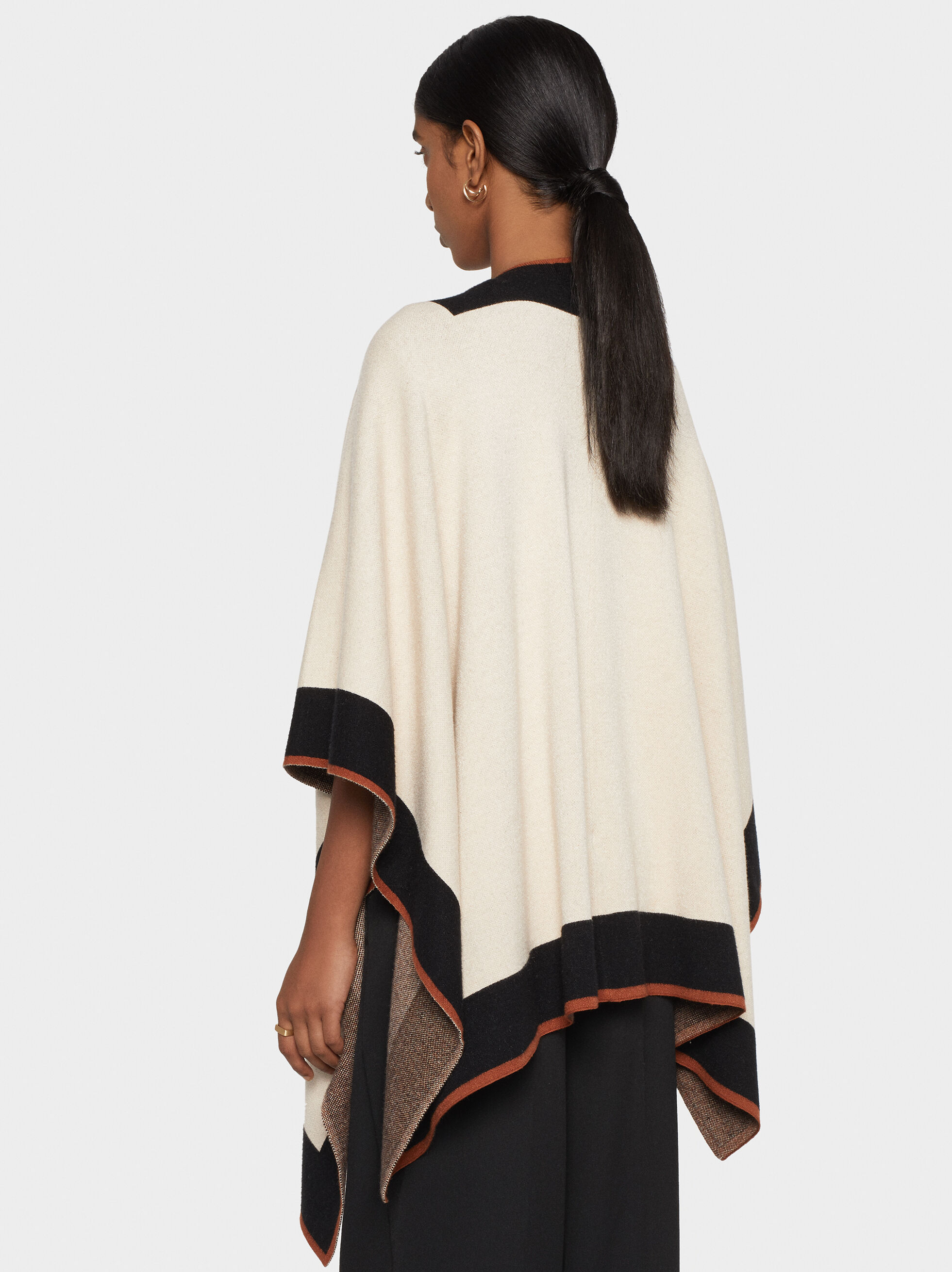 Open Knit Poncho, Ecru, hi-res