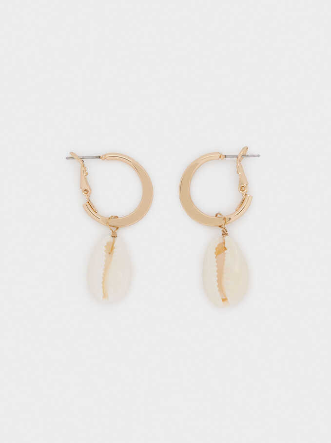 Hoop Earrings With Shell Pendant, Golden, hi-res