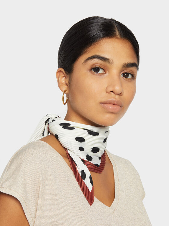 Printed And Pleated Square Scarf, White, hi-res
