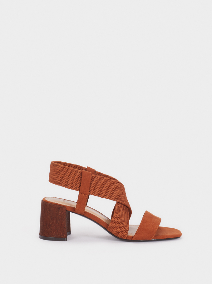 High-Heel Sandals With Braided Straps, Camel, hi-res