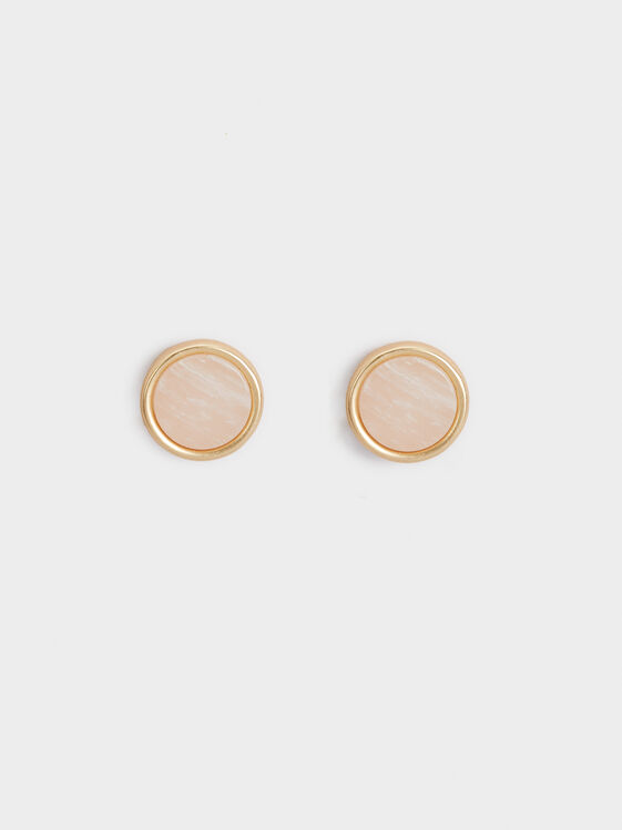 Stone Story Studs, Pink, hi-res