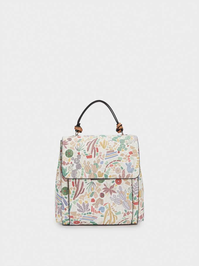 Cactus Print Backpack, Ecru, hi-res