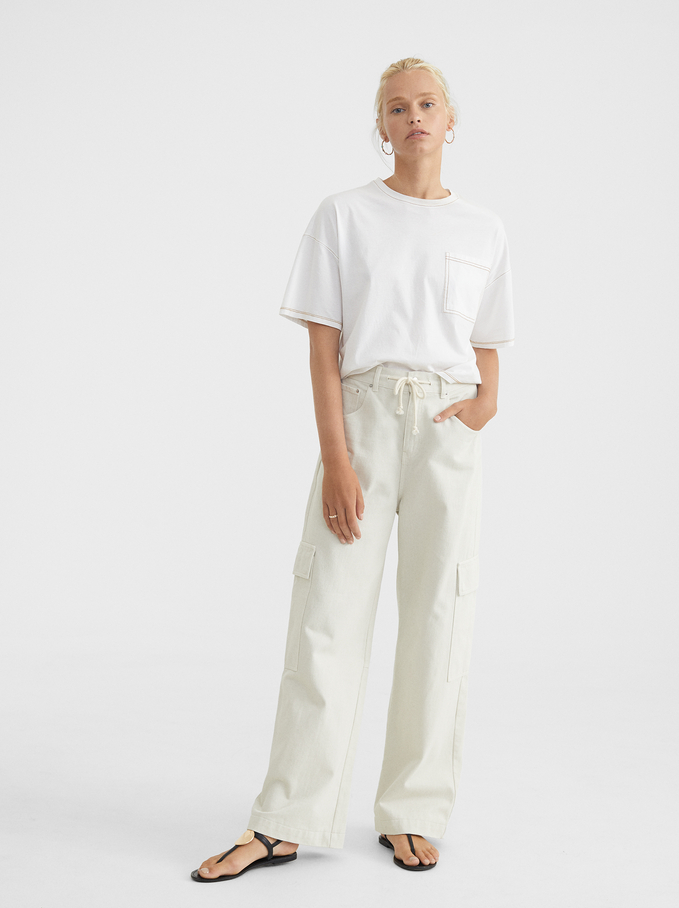 Oversized T-Shirt With Pocket, White, hi-res