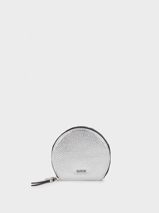 Small Textured Purse, Silver, hi-res