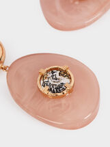 Large Pink Earrings With Coin Detail, Pink, hi-res