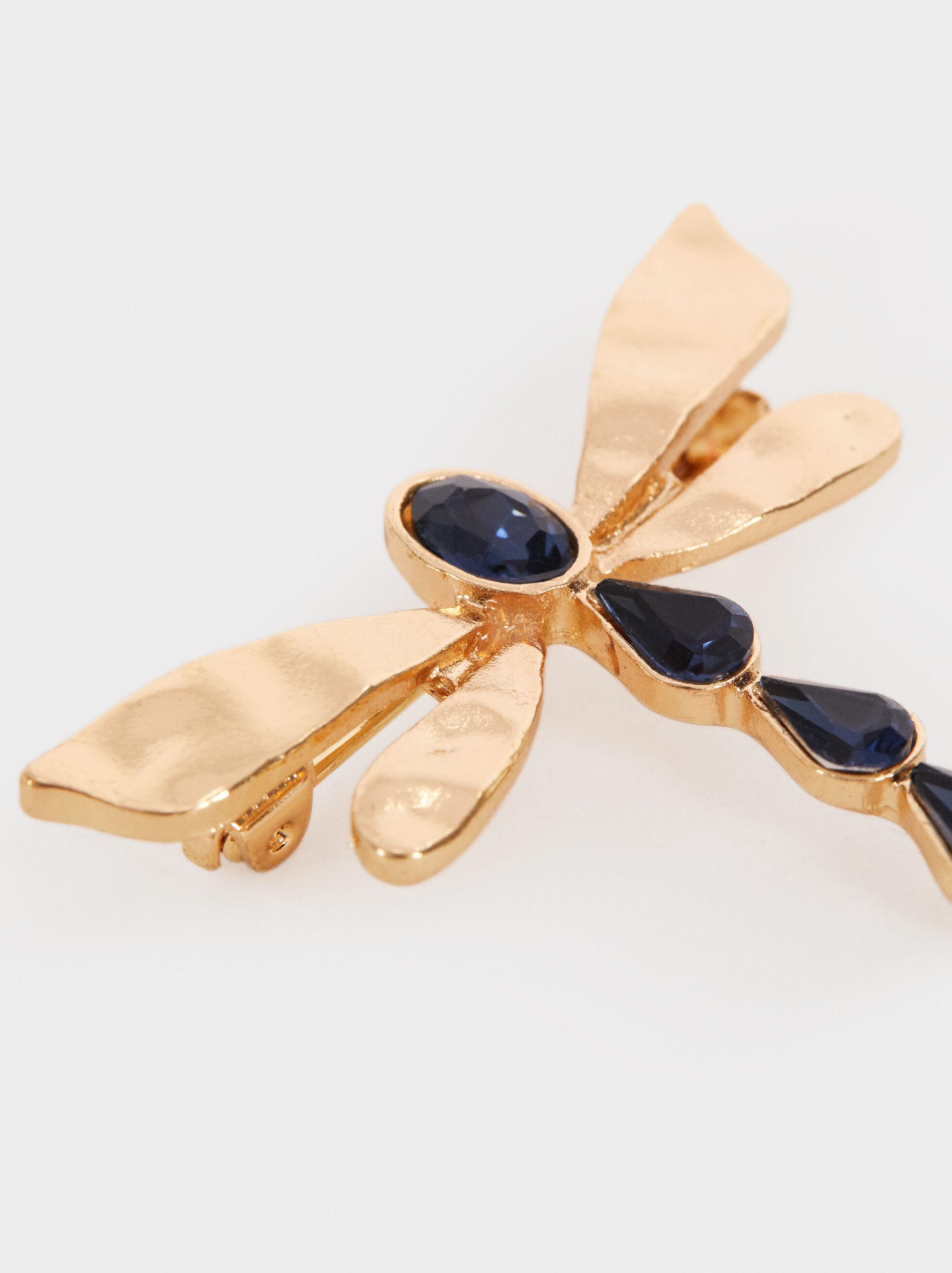 Dragonfly Brooch, Blue, hi-res