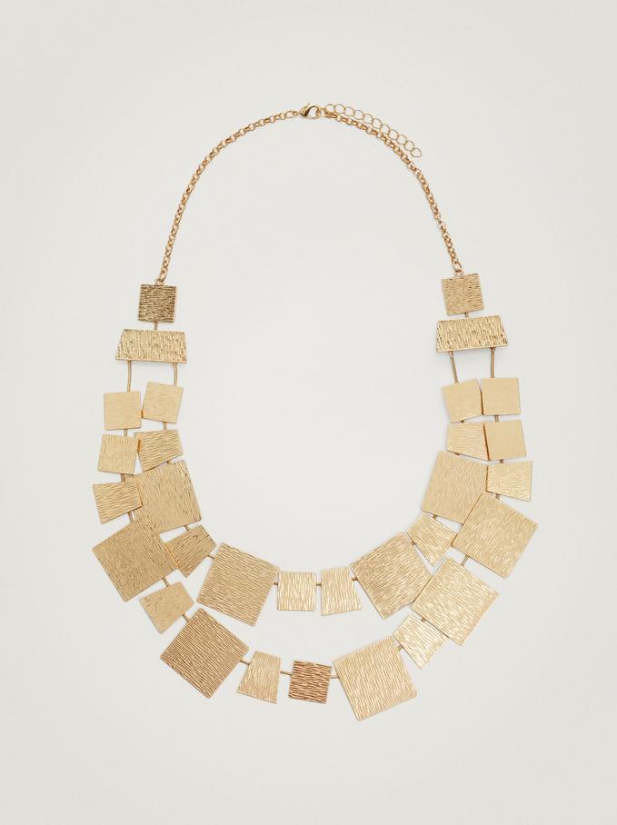 Short Golden Geometric Necklace, Golden, hi-res
