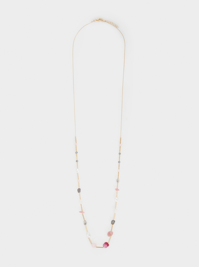 Petrified Long Beaded Necklace, Multicolor, hi-res