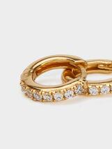 925 Silver Small Hoop Earrings With Rhinestones, Golden, hi-res