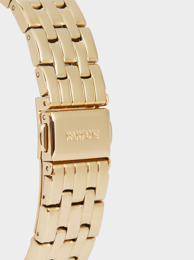 Square Case Stainless Steel Watch, Golden, hi-res