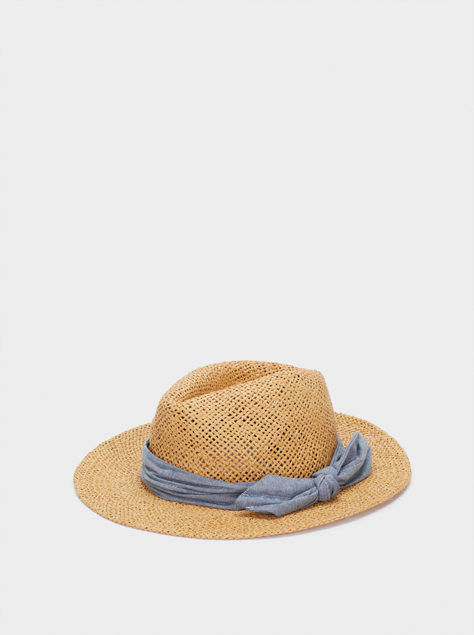 Woven Hat With Contrast Band, Camel, hi-res