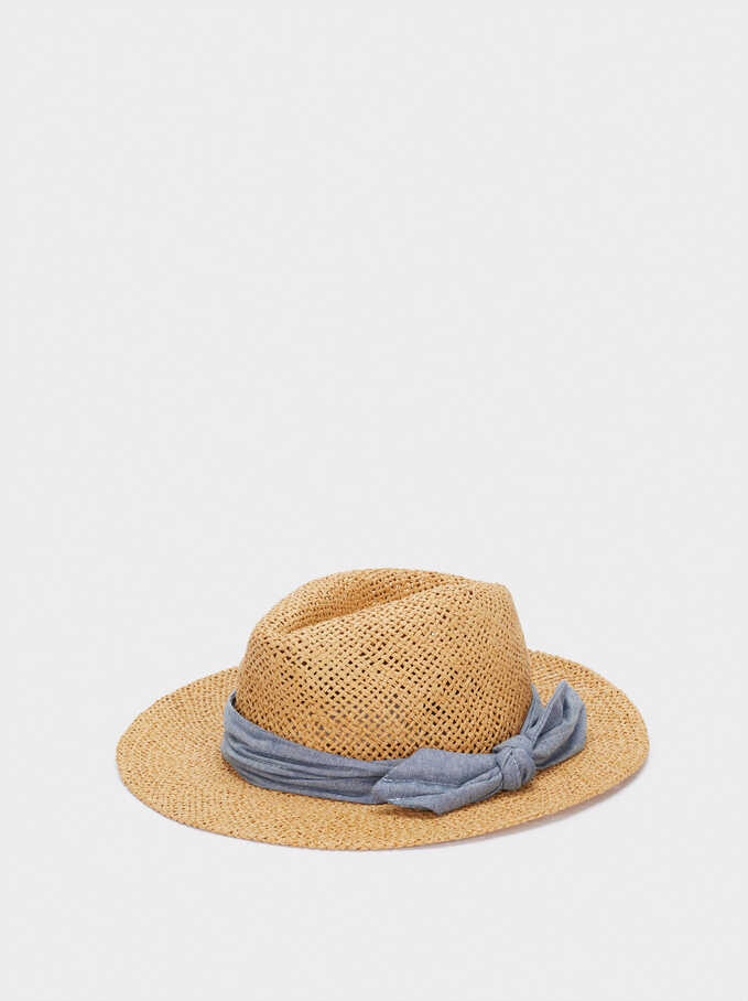 Textured Straw Hat With Contrast Band, Camel, hi-res