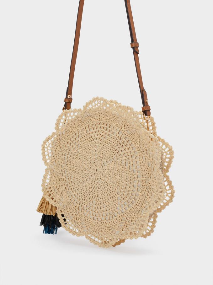 Bolso Bandolera Crochet Con Borlas, Crudo, hi-res