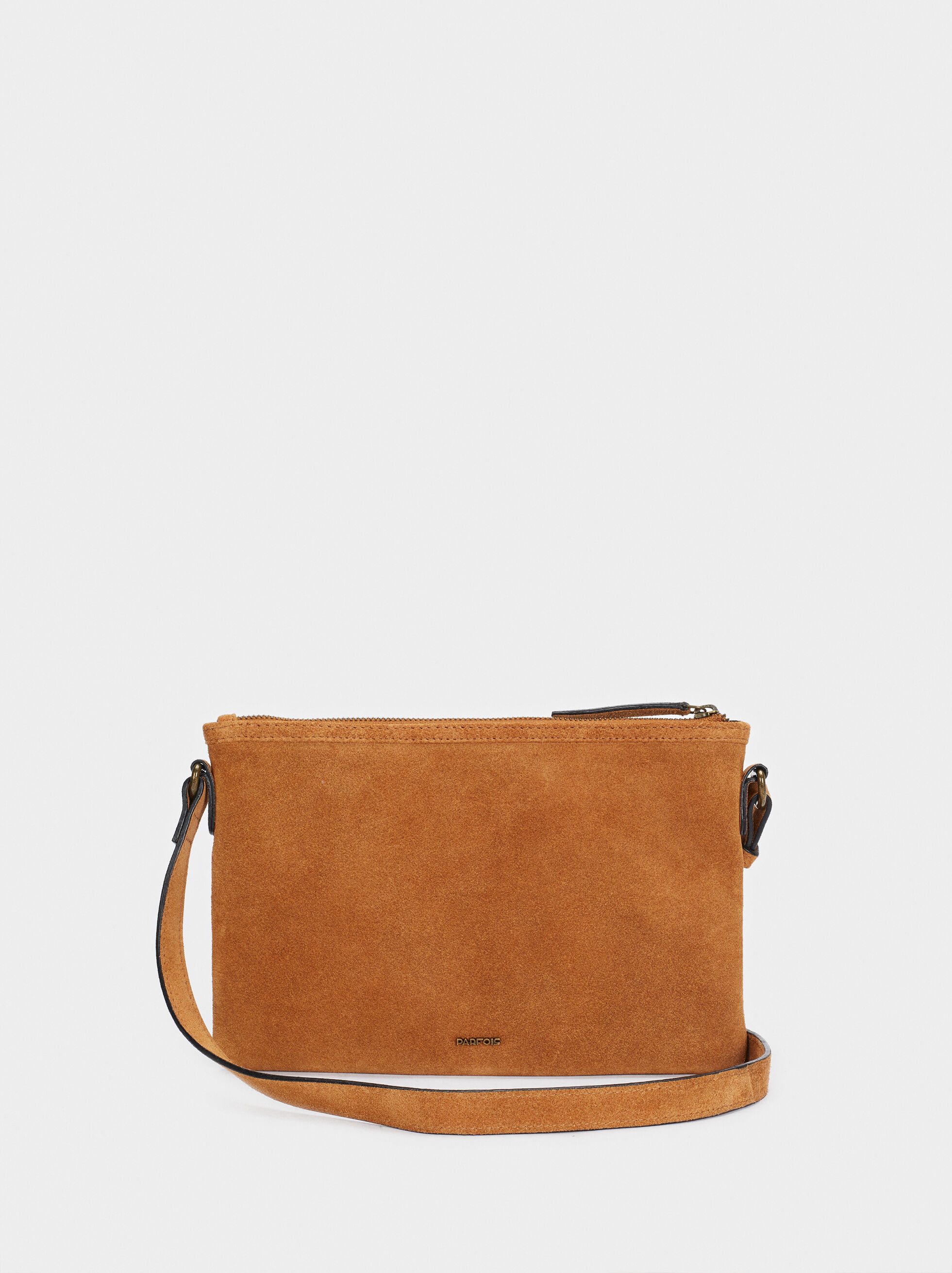 Textured Suede Crossbody Bag With Fringe, Camel, hi-res
