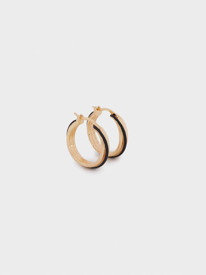 Small Enamel Hoop Earrings, Black, hi-res