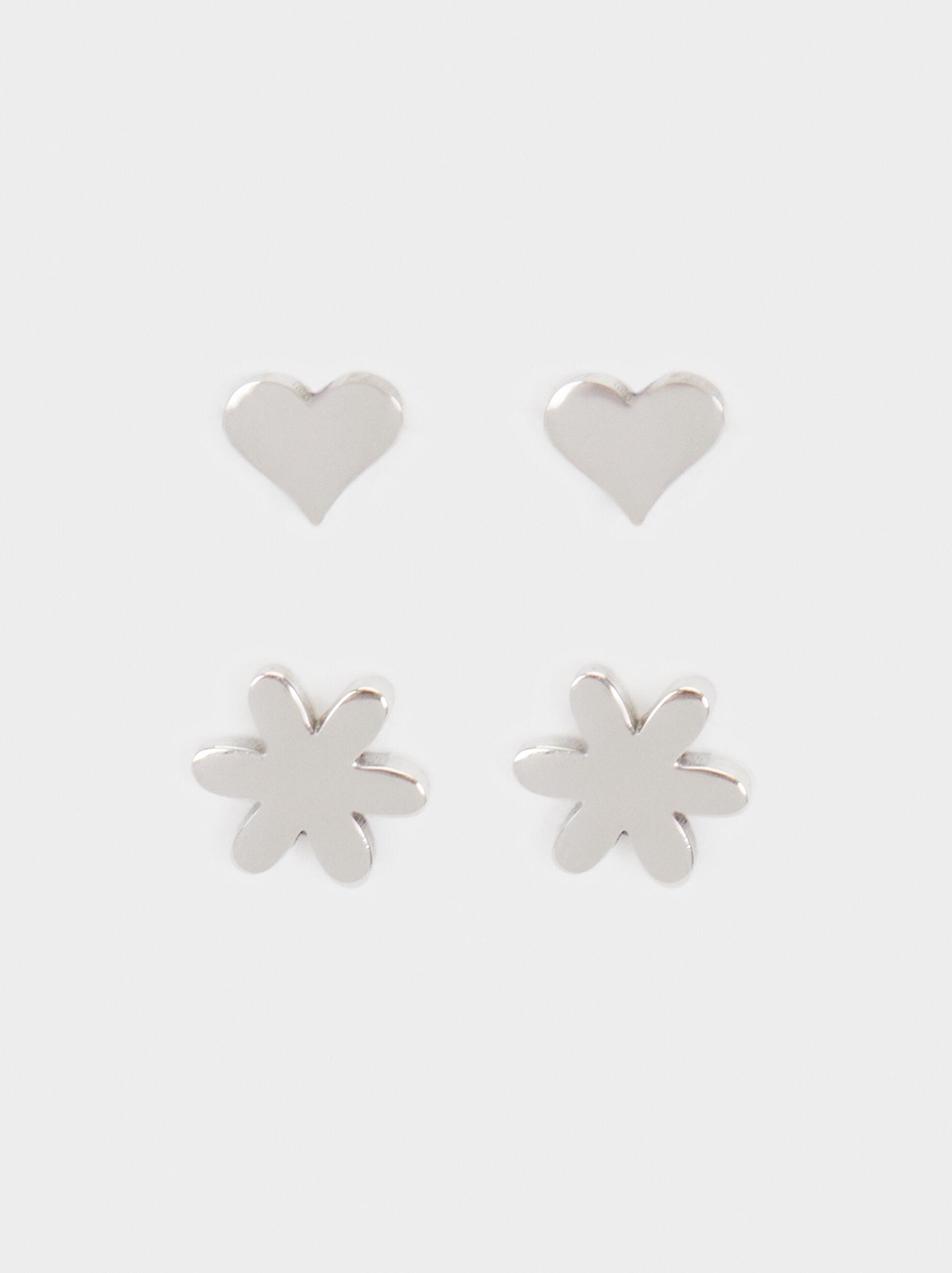 Set Of Stainless Steel Earrings, Silver, hi-res