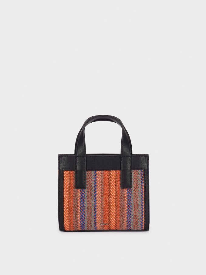 Bucket Bag With Plaited Detailing, Orange, hi-res