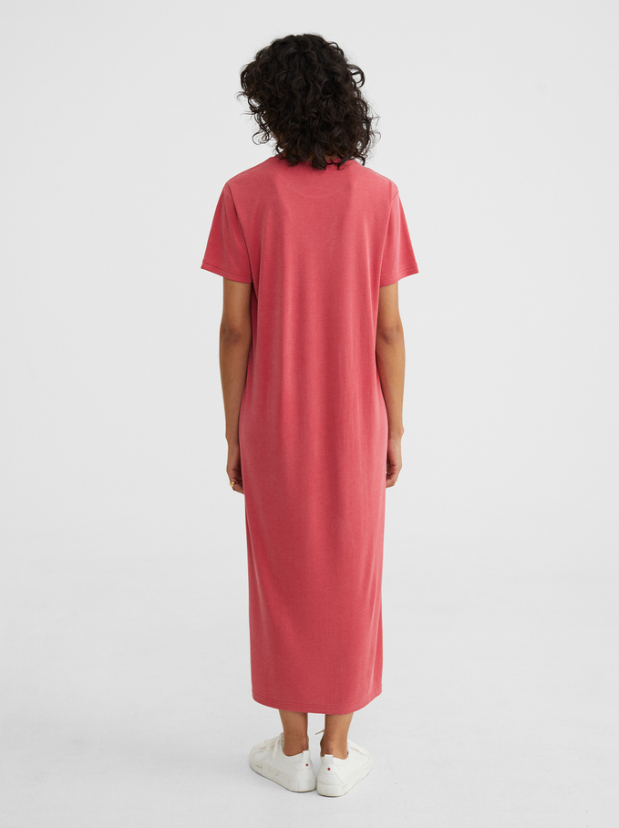 Long Dress With Short Sleeves And A Round Neckline, Pink, hi-res