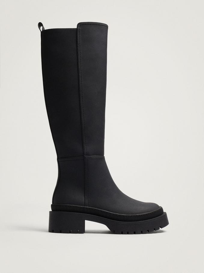Knee-High Leg Rubber Boots, Black, hi-res