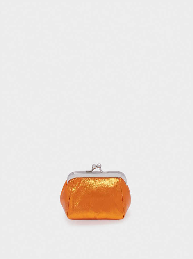 Purse With Clasp Fastening, Orange, hi-res