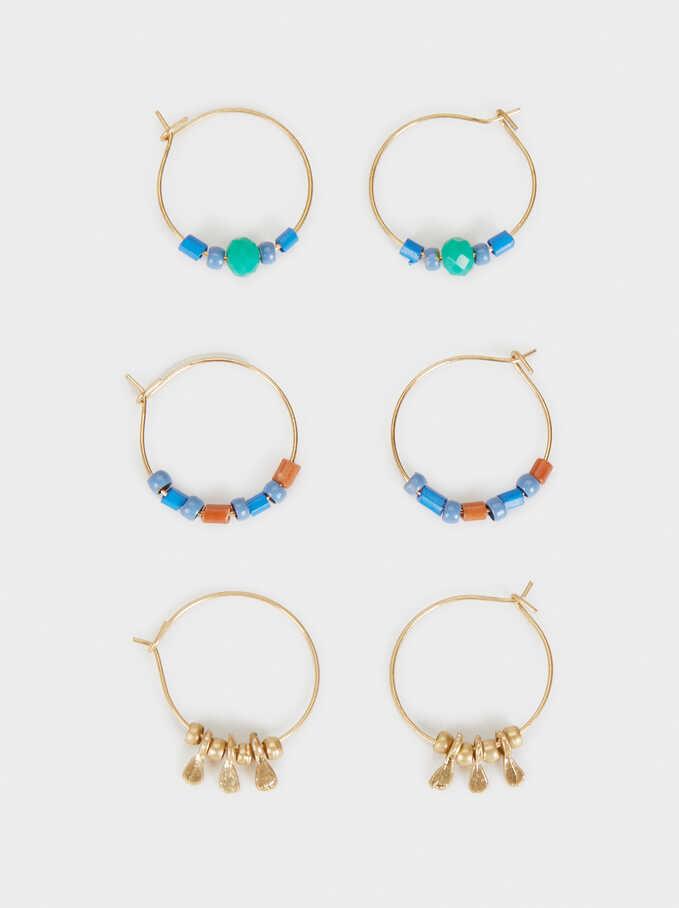 Zorba Set Of Hoop Earrings With Beading, Multicolor, hi-res