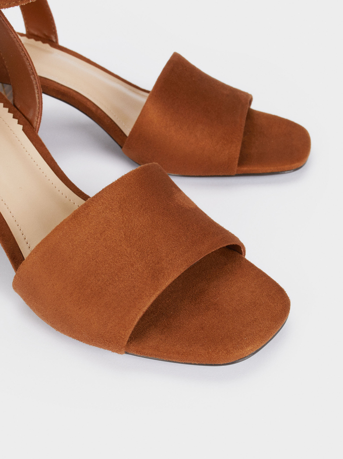 Mid-Heel Sandals With Ankle Strap, Camel, hi-res