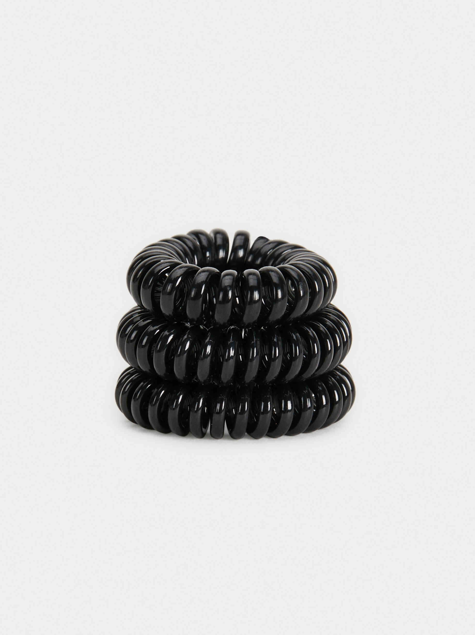 Set Of Basic Spiral Hair Ties, , hi-res