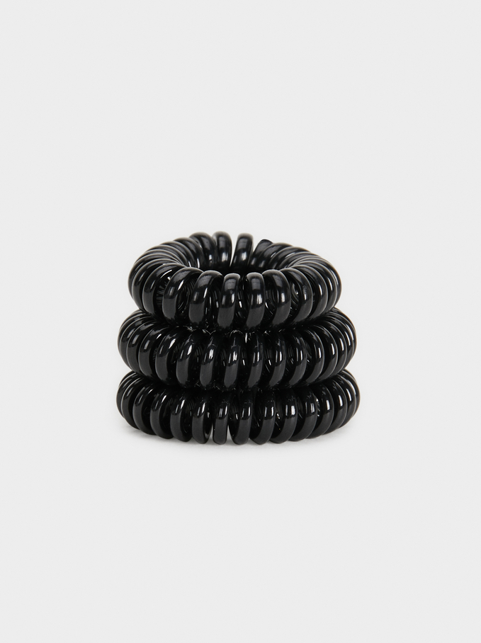 Set Of Basic Spiral Hair Ties, Black, hi-res