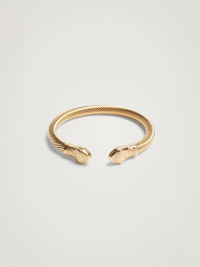 Rigid Bracelet With Snake, Golden, hi-res