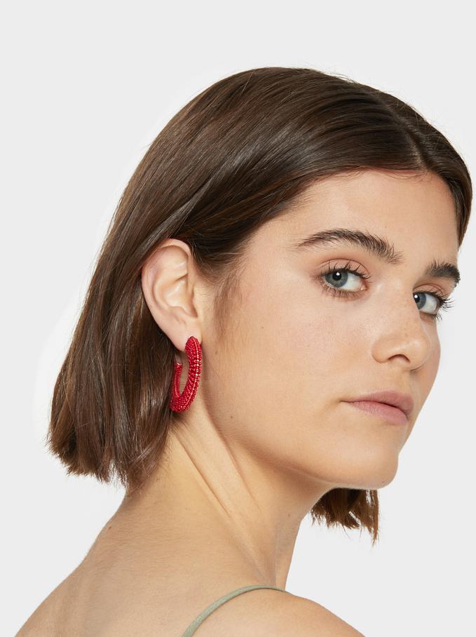Strawberry Fields Medium Hoop Earrings With Beadin, Red, hi-res