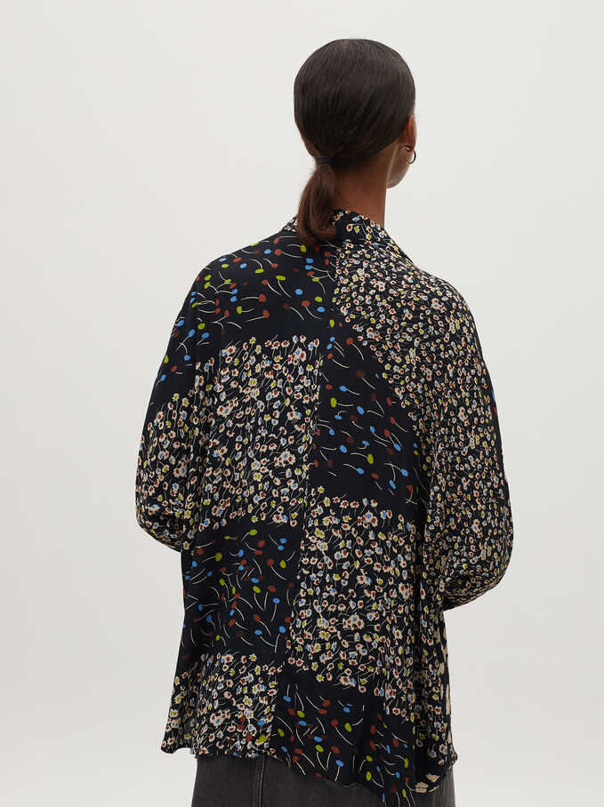 Floral Print Flowing Shirt, Black, hi-res