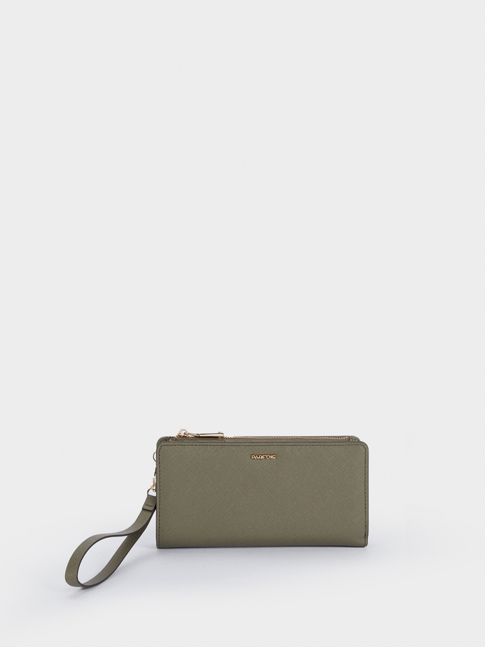 Plain Long Wallet, Khaki, hi-res