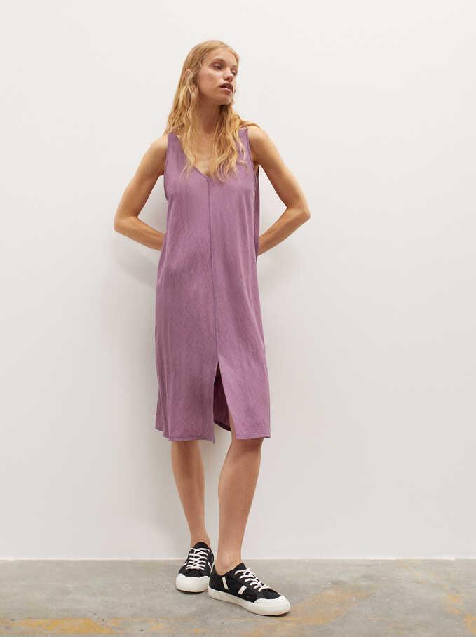 Plain V-Neck Dress, Violet, hi-res