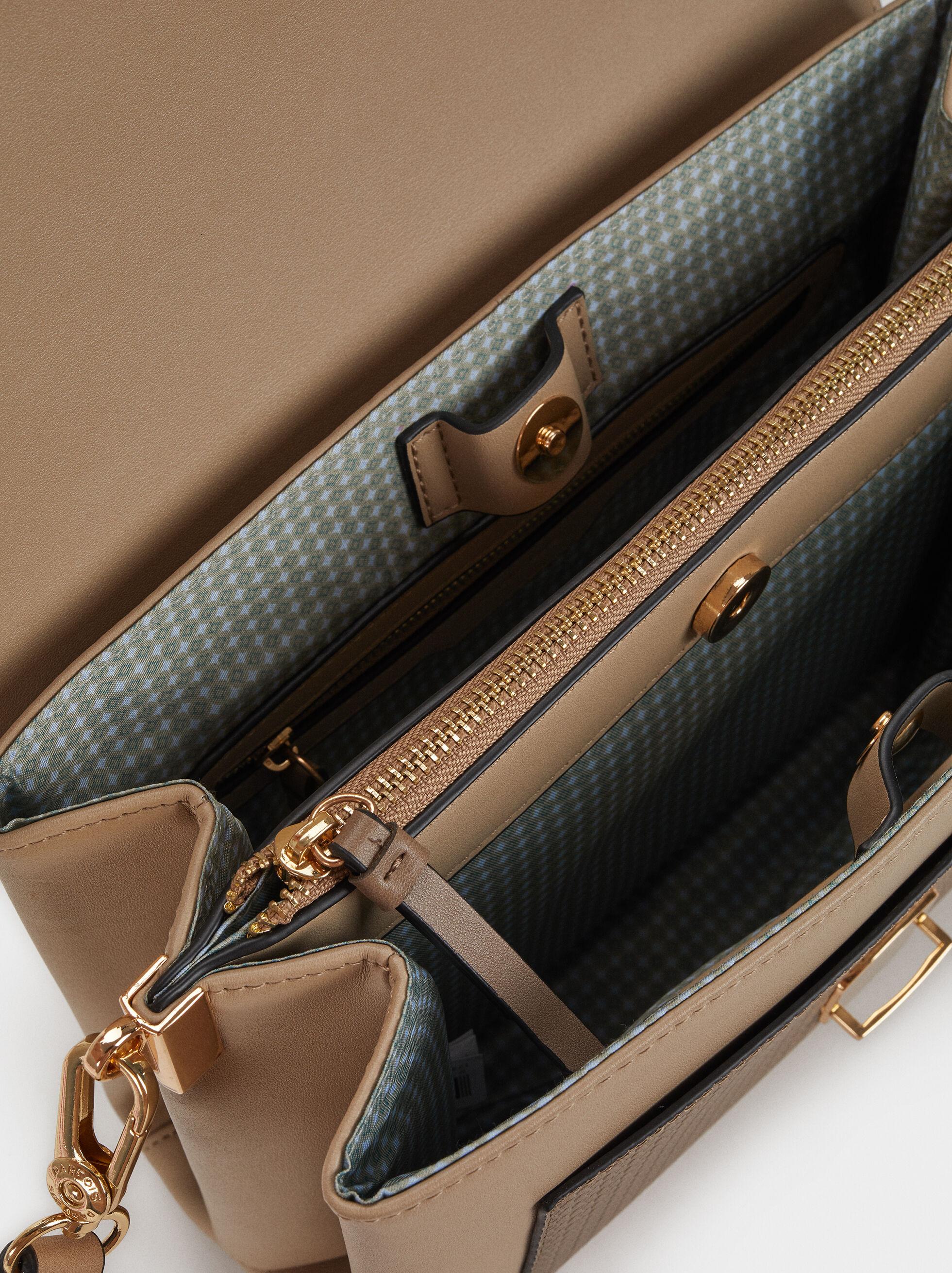 Embossed Shoulder Bag, Brown, hi-res