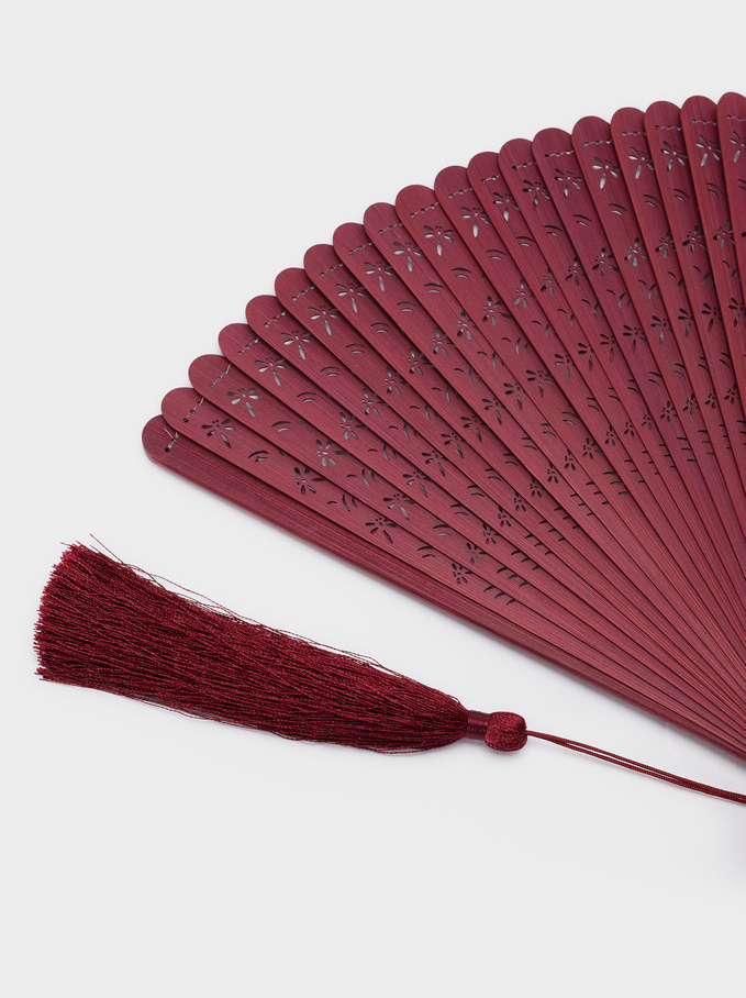 Perforated Fan With Tassel, Bordeaux, hi-res