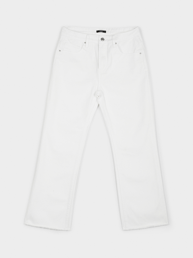 Pantalon Droit Denim, Écru, hi-res