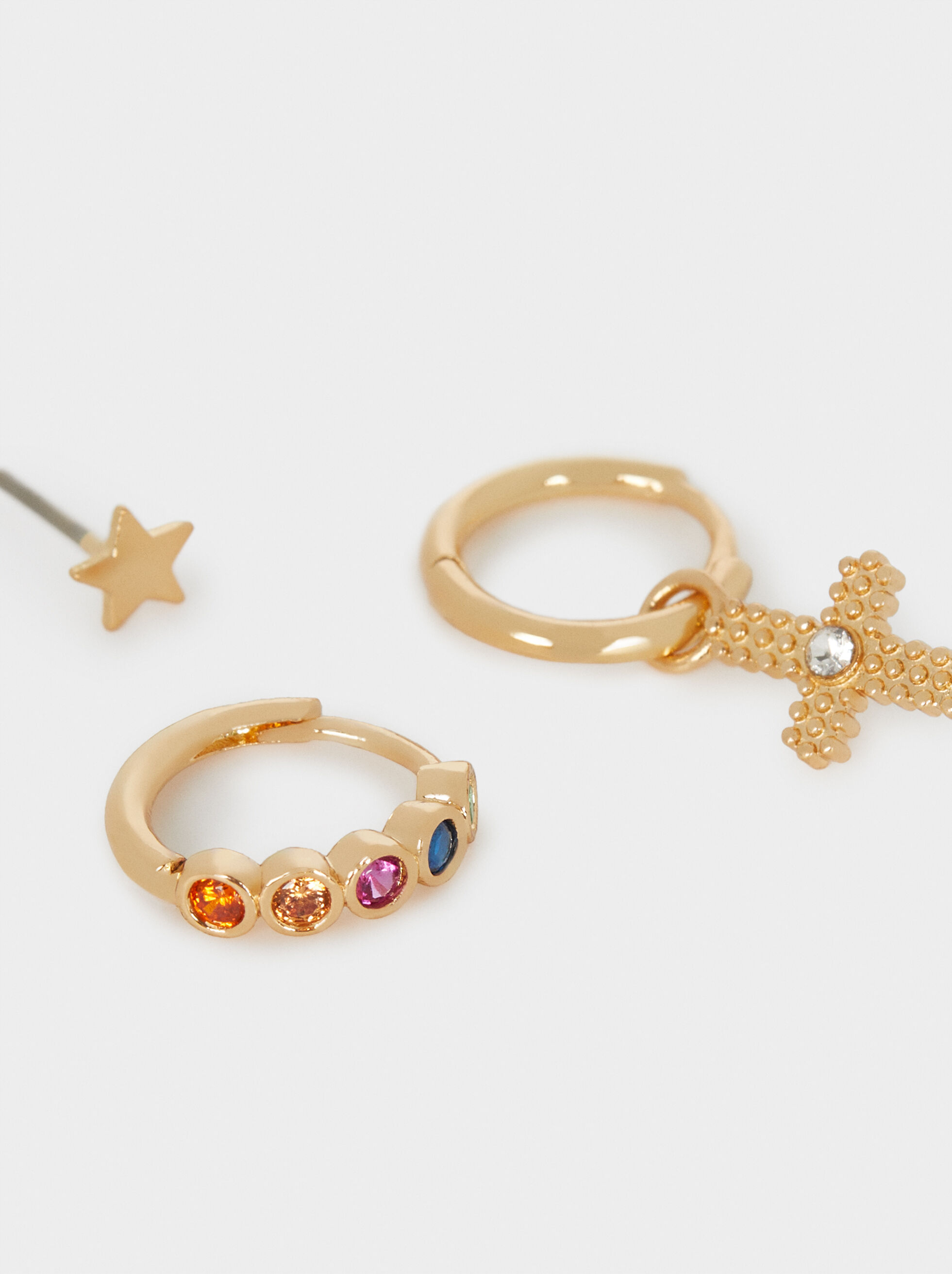 Small Hoop Earrings With Multicoloured Cross Detail, Golden, hi-res