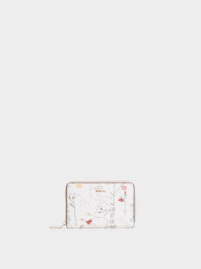 Small Floral Print Purse, Ecru, hi-res