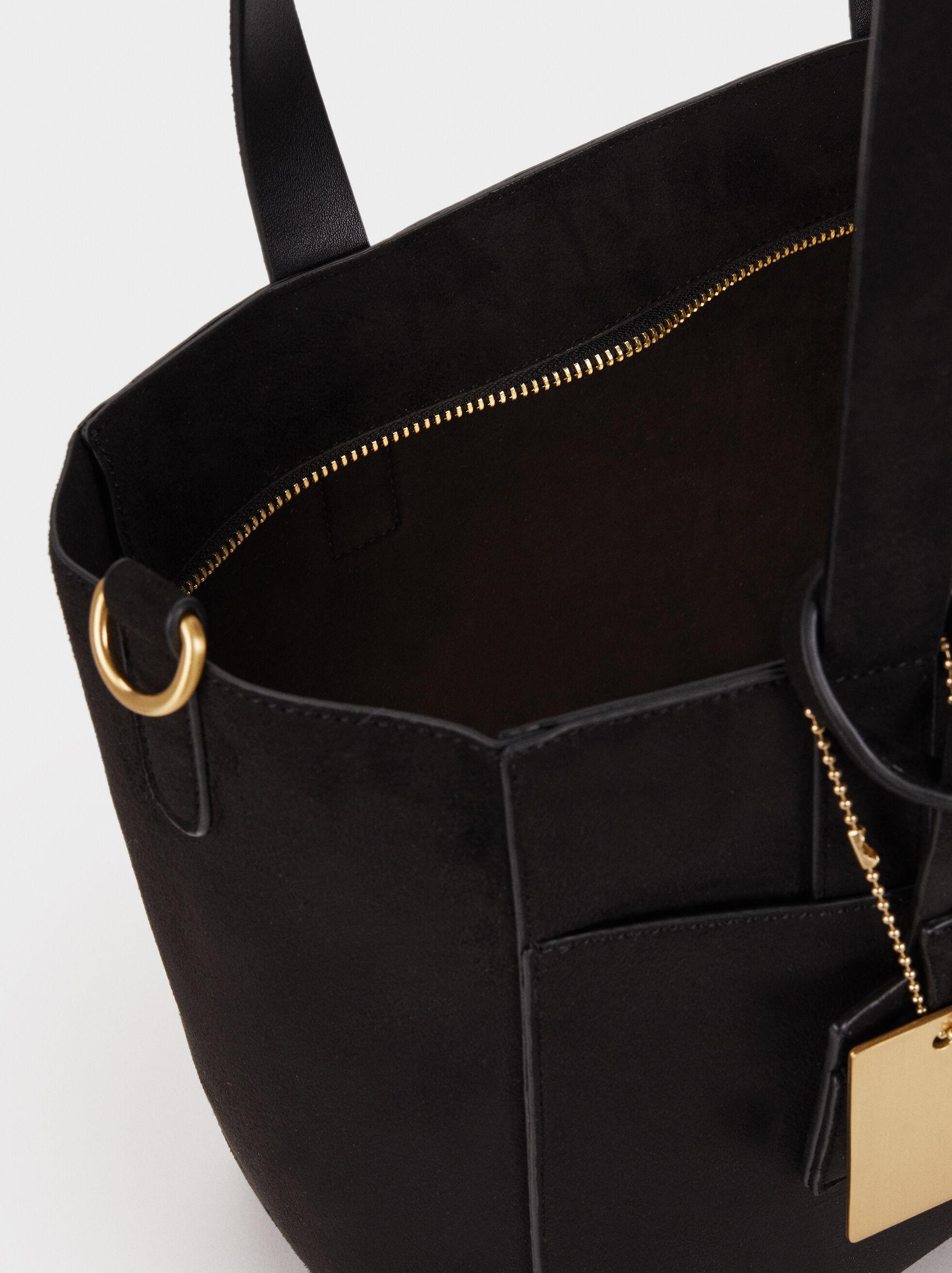 Suede Texture Tote Bag, Black, hi-res