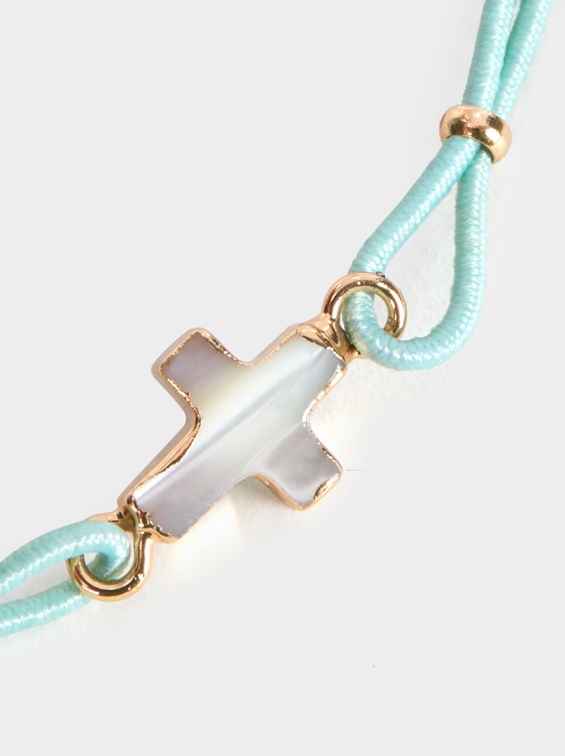Elastic Bracelet With Cross, Green, hi-res