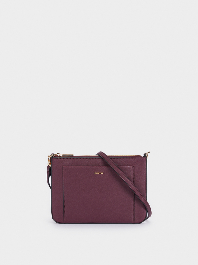 Shoulder Bag With Outer Pocket, Bordeaux, hi-res