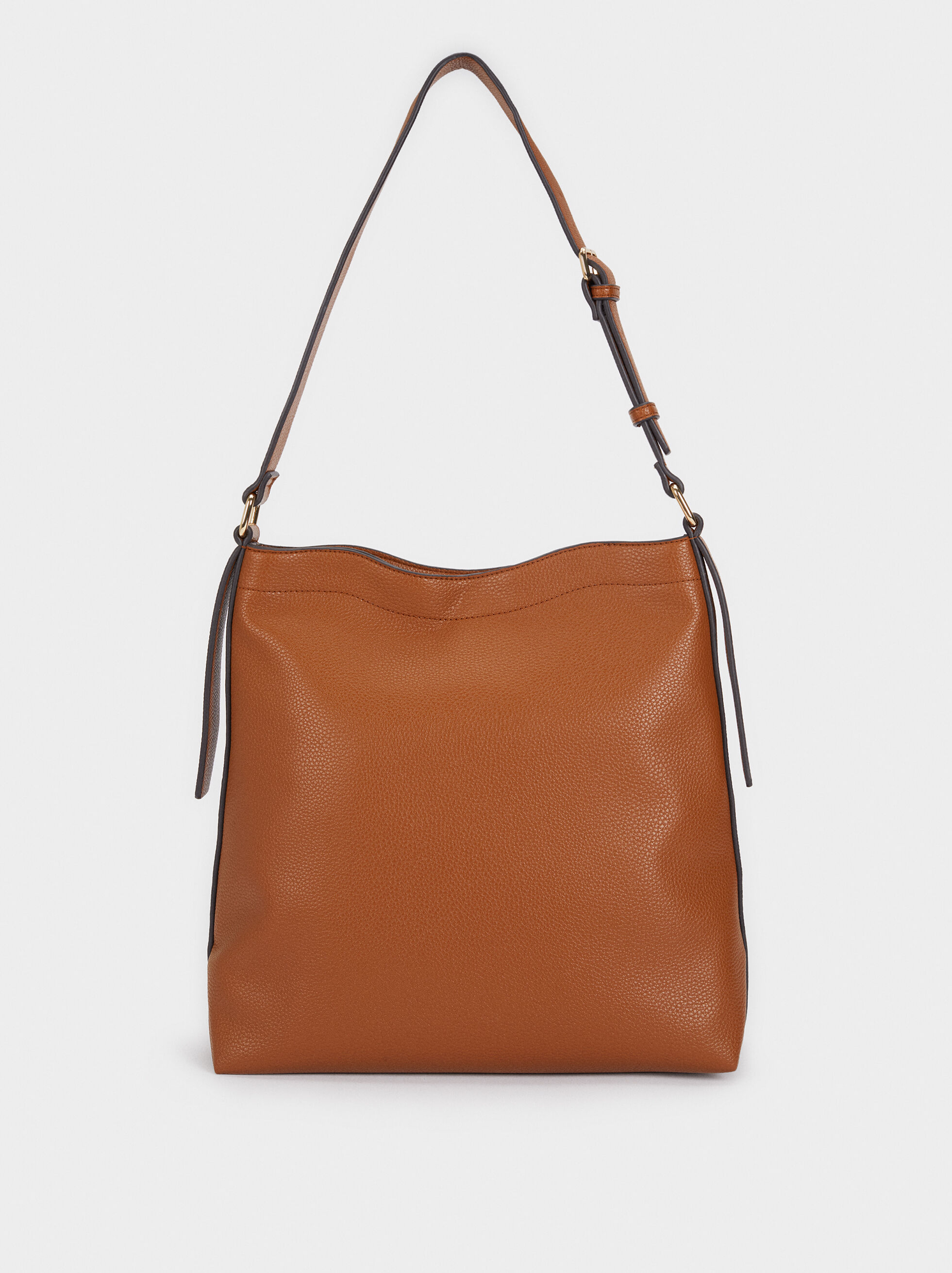 Suede Shoulder Bag, Camel, hi-res