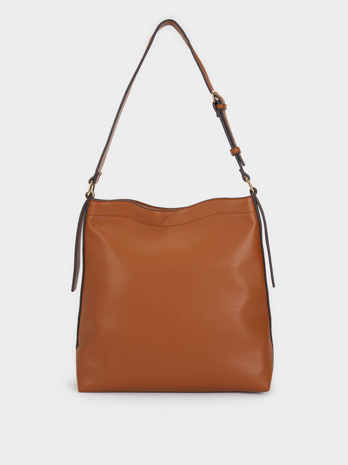 Suede Shoulder Bag, Camel, hi-res
