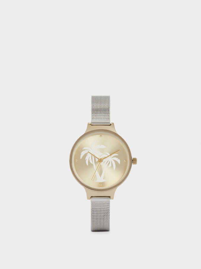 Watch With Stainless Steel Strap And Palm Tree Face, Golden, hi-res