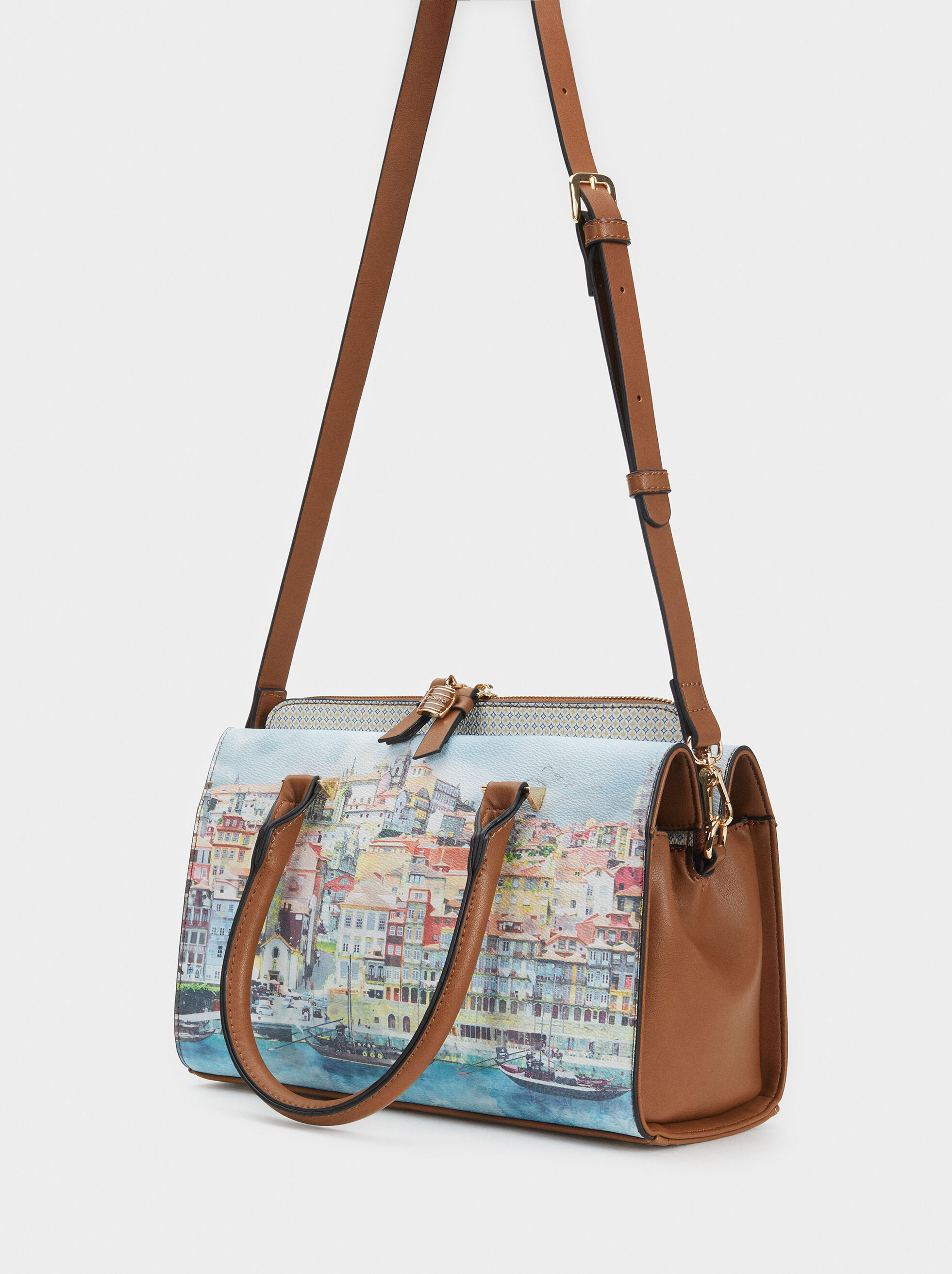 Porto Print Tote Bag, Blue, hi-res