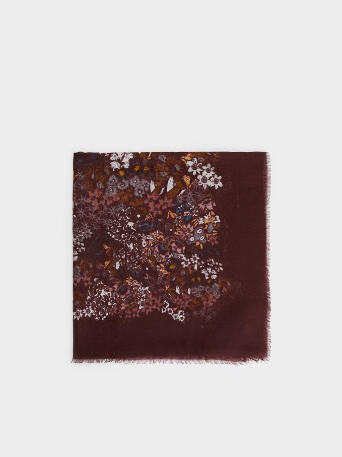 Floral Print Scarf, Bordeaux, hi-res